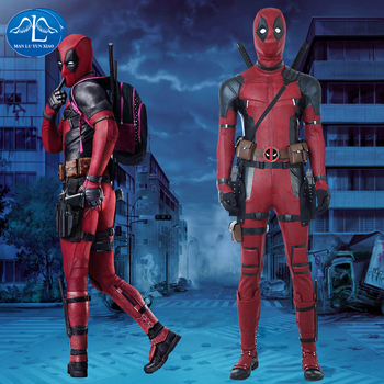 Manluyunxiao Deadpool Costume Halloween Deadpool Cosplay For Men Red Jumpsuit With Boots Custom Made Deadpool Cosplay Costume цена 2017