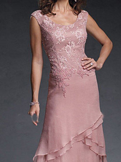 Sexy New Cap Sleeves Skin Pink Appliques Ankle Length Evening Mother Of The Groom Dresses CB 19651 1