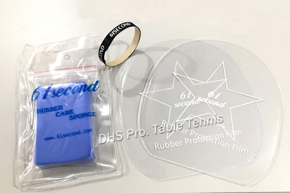 61Second Professional Table Tennis Racket Care Accessories Rubber Protective Film+Cleaner Sponge+Racket Edge Protection Tape