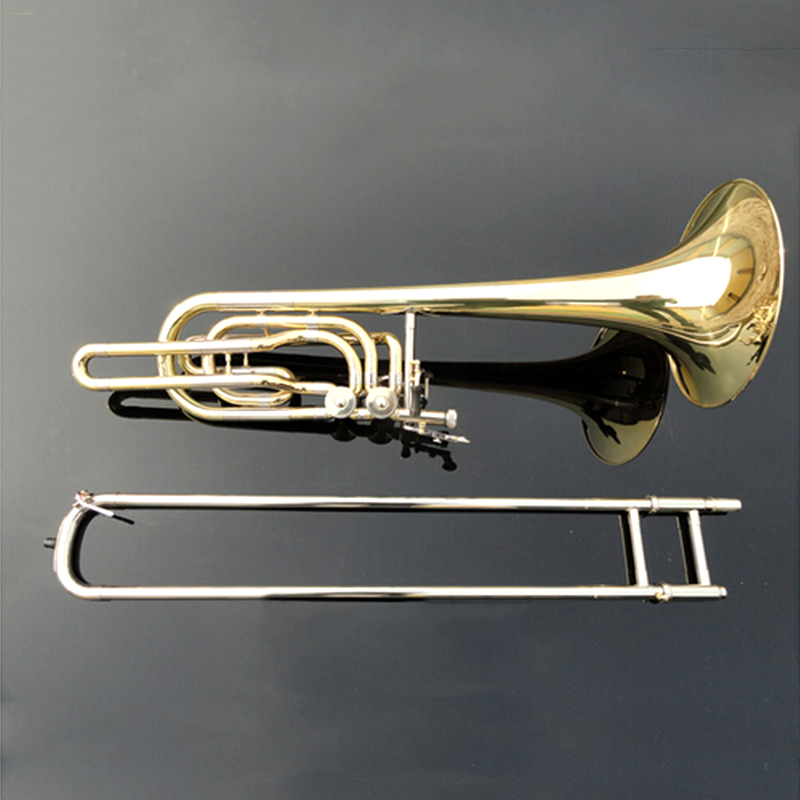 Copy of 36BO B Flat Trombone Bass Playing Musical Instrument Double Piston Bb Adjustable Trombone For Student Free Shipping marcinkiewicz proline contrabass trombone mouthpiece 106