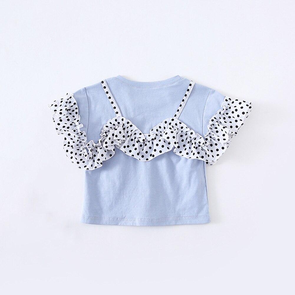 Одежда для малышей Новая детская одежда милая блузка в горошек с кружевом летняя Модная хлопковая рубашка с короткими рукавами для маленьких девочек