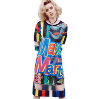 Women Summer Dress 2018 Fashion Long Casual Loose Letter Cartoon Print Stitching Pullover Office Chiffon T shirt Dresses T95