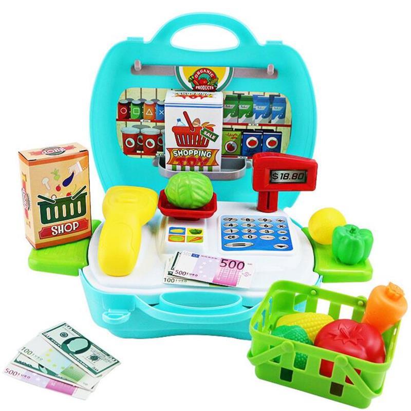 Kawaii Kids Simulation Supermarket Cash Register Toy Mini Shopping Checkout Plas