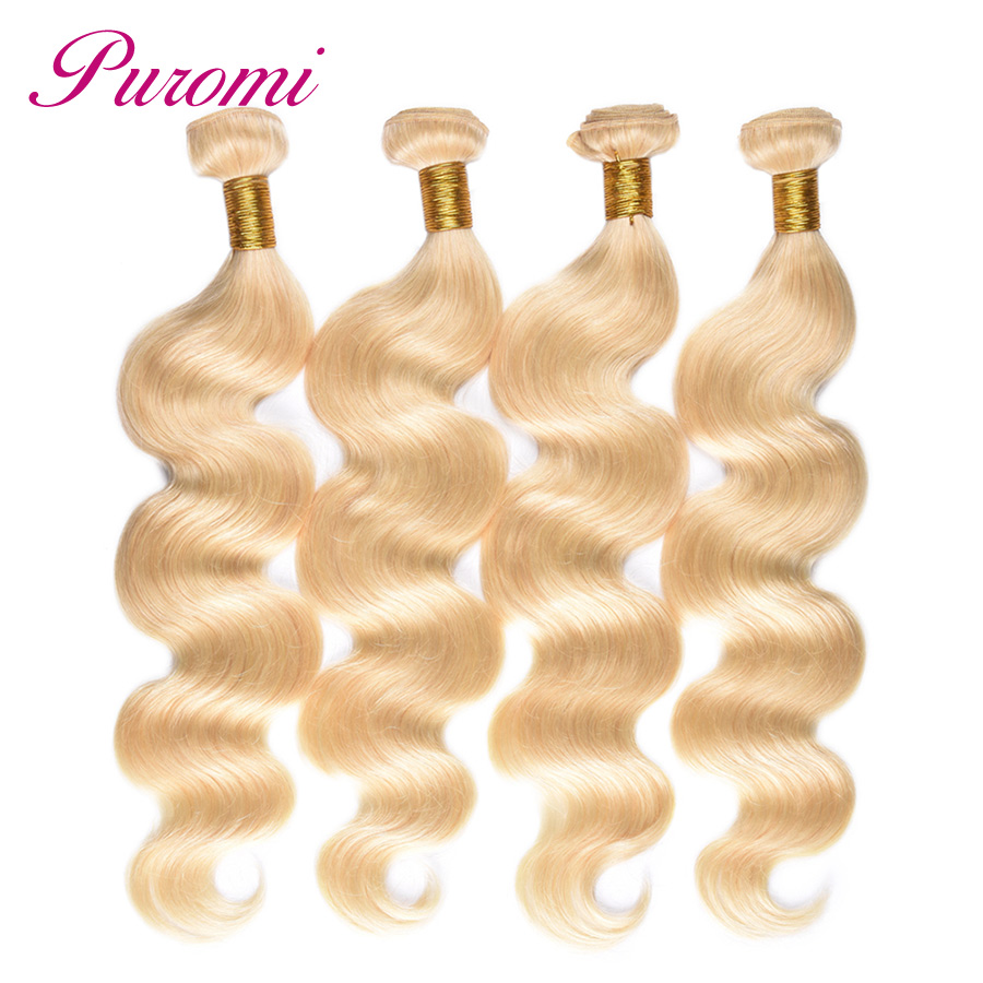 Puromi 613 Hair Body Wave Bundles Haar Extension Brazilian Hair Weave Bundles 10-28 inches Non Remy 4 Bundles Blonde Hair
