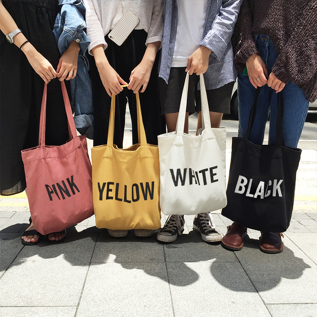 2017 Hot New Fashion Women Female Korean Style Simple Letter Printing Fresh Casual Soft Canvas Shopping Bags Shoulder Bags