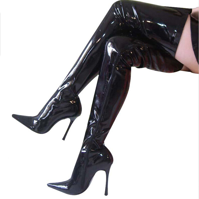 12CM High Height Sex boots Women's Heels  Stiletto Heel  OVER-The-Knee Boots  No.1250B 20cm high height sex boots pu platform hoof heels over the knee boots no 13667