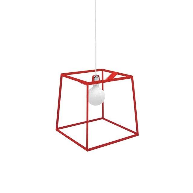 frame pendant lights black red white metal geometric square pendant