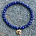 SN1106 Wholesale Handmade Beaded Bracelet 6mm Lapis Lazuli Natural Stone Beads Antique Brass Ohm Lotus Buddha Charm Bracelet