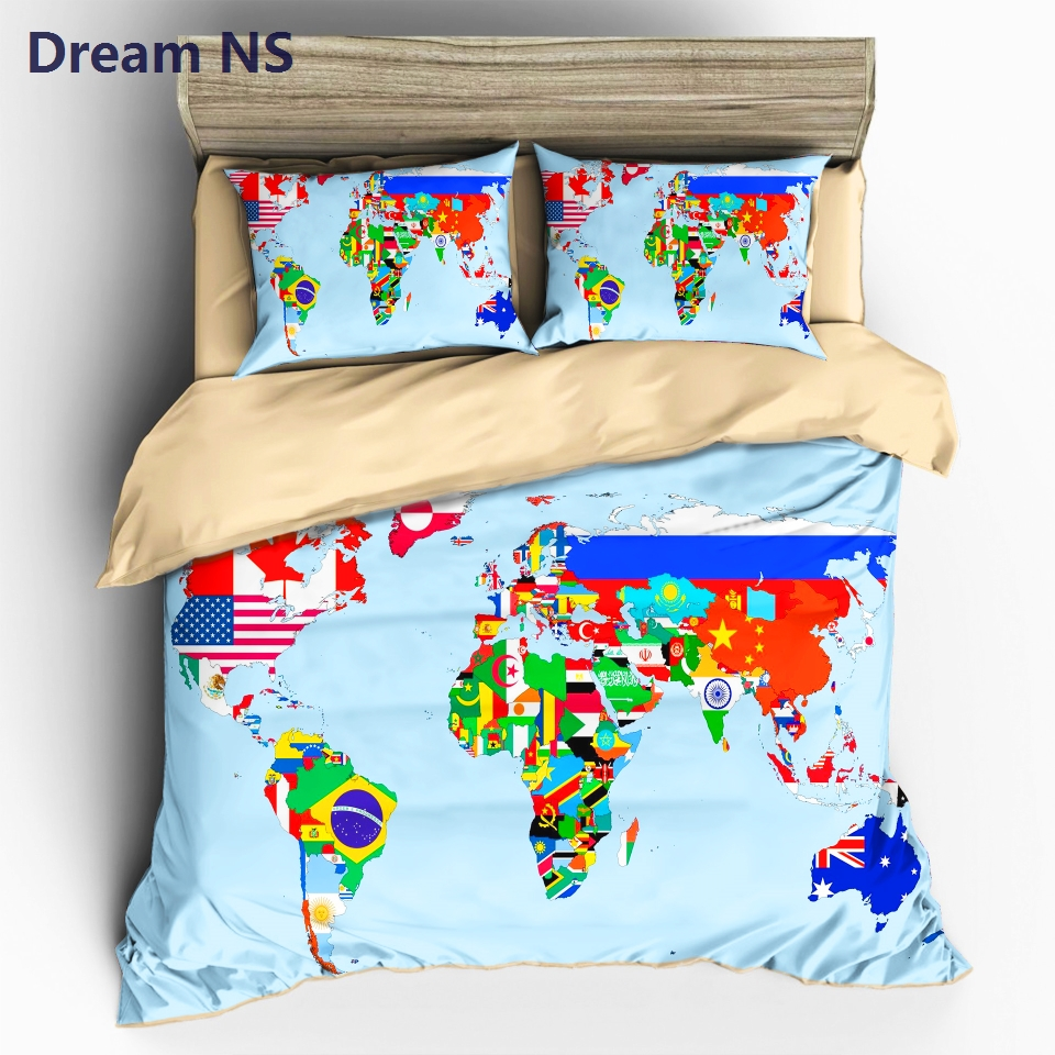 Dream ns vivid world map bedding set colorful national flag duvet dream ns vivid world map bedding set colorful national flag duvet cover blue ocean cozy bedclothes europe au size king double in bedding sets from home gumiabroncs Images