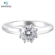 цена на DovEggs 14K White Gold 1ct Carat 6.5mm F Color Excellent Hearts and Arrows Cut Moissanite Diamond Engagement Ring Solitaire Ring
