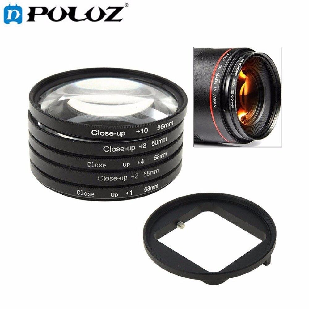 Prix pour Pour Aller Pro Accessoires 6 en 1 58mm Close-Up Lentille Filtre macro lentille filtre + filtre adaptateur anneau pour gopro hero3 hero 3