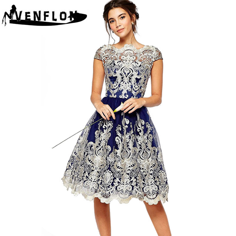 VENFLON Summer Dress Women 2019 Casual Vintage Sexy Elegant Hollow Out Embroidery Lace Dress Female Casual Ball Gown Party Dress