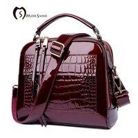 MORESHINE Brand Women Patent Leather Handbags With Crocodile Fashion Design Shopper Tote Bag Female Real Leather