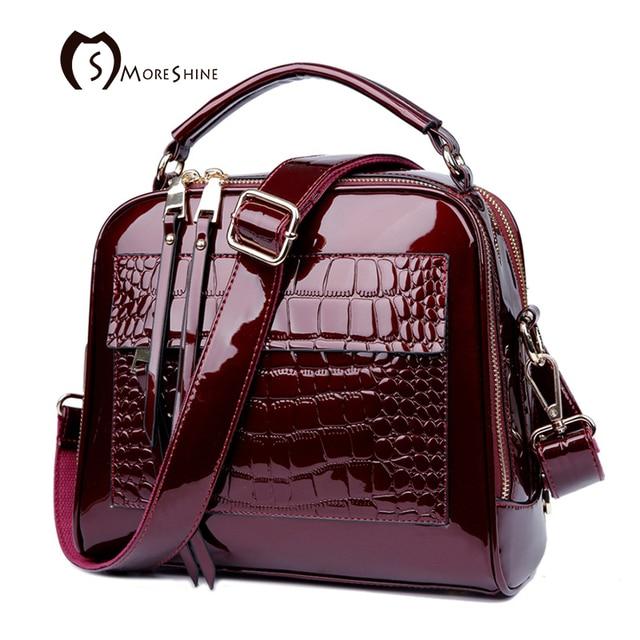 60a9b9e44e MORESHINE brand women Real Patent leather handbags Crocodile Fashion design  shopper tote bag Female luxurious shoulder