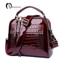 MORESHINE Brand Women Patent Leather Handbags With Crocodile Fashion Design Shopper Tote Bag Female Real Leather
