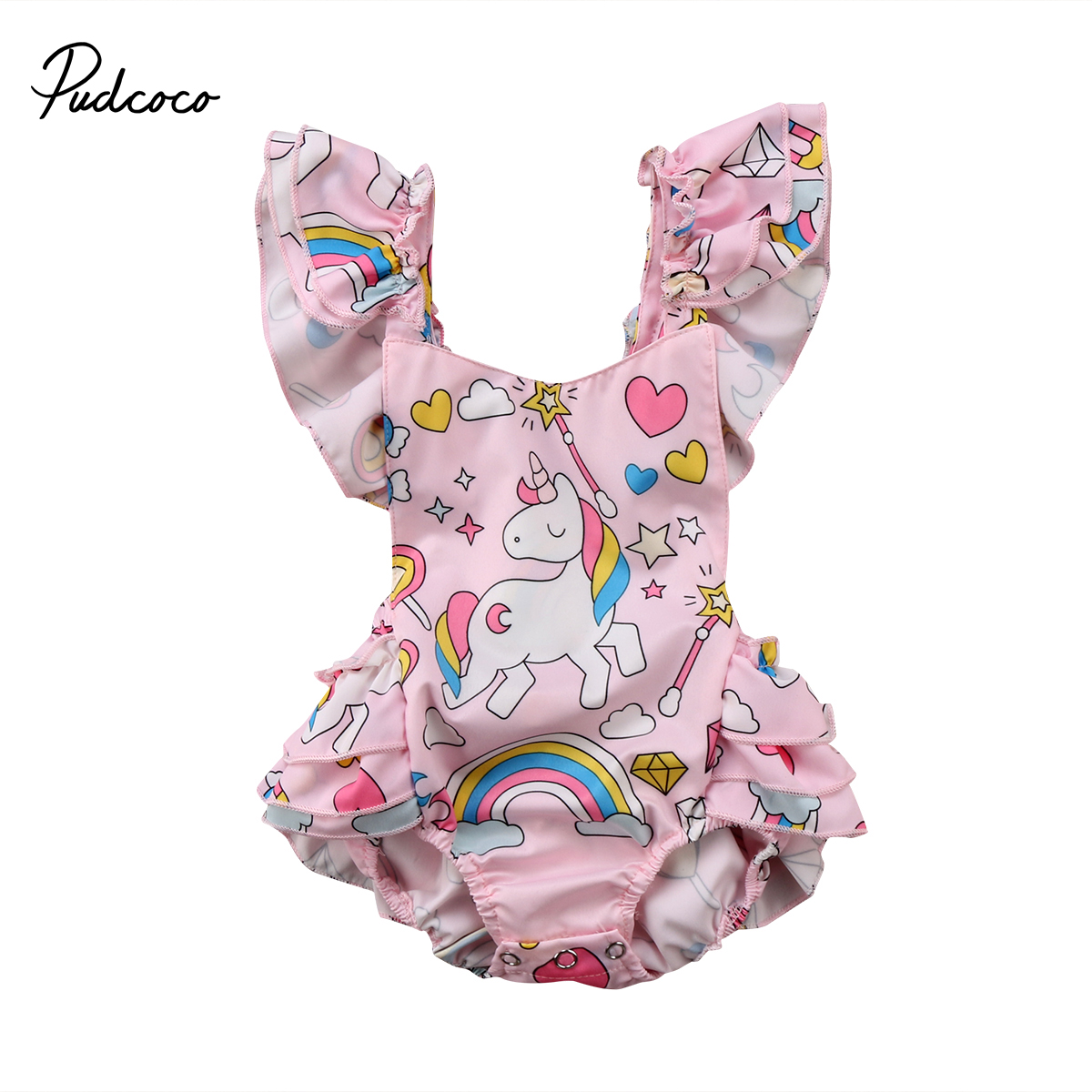 Cute Baby Clothing Newborn Baby Girls Backless Unicorn Ruffle Romper Jumpsuit Baby Outfits Set Clothes 0-2T kids ruffle tie neck striped romper