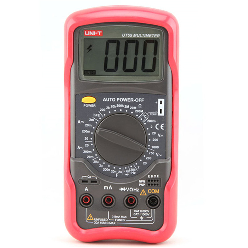 Multimètre numérique UT55 1000 V 20A DMM AC/DC voltmètre résistance Diode test de température testeur de multimètre portable