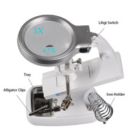 3X 4.5X LED Light Helping Hands Magnifier Station USB Lighted Hands Free Magnifying Glass Stand with Clamp and Alligator