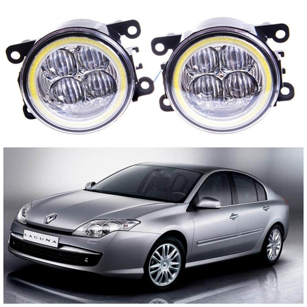 For Renault Laguna 3 Hatchback BT0 BT1  2007-2015 Angel eye LED fog lamp 9CM daytime running light Spotlight DRL OCB lens