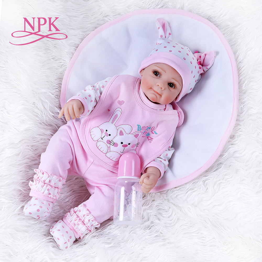NPK52CM Newborn Sweet Face Lifelike Bebe Doll Reborn Baby Soft Touch Cuddly Baby Hand Rooted Hair High Quality Collectible Doll