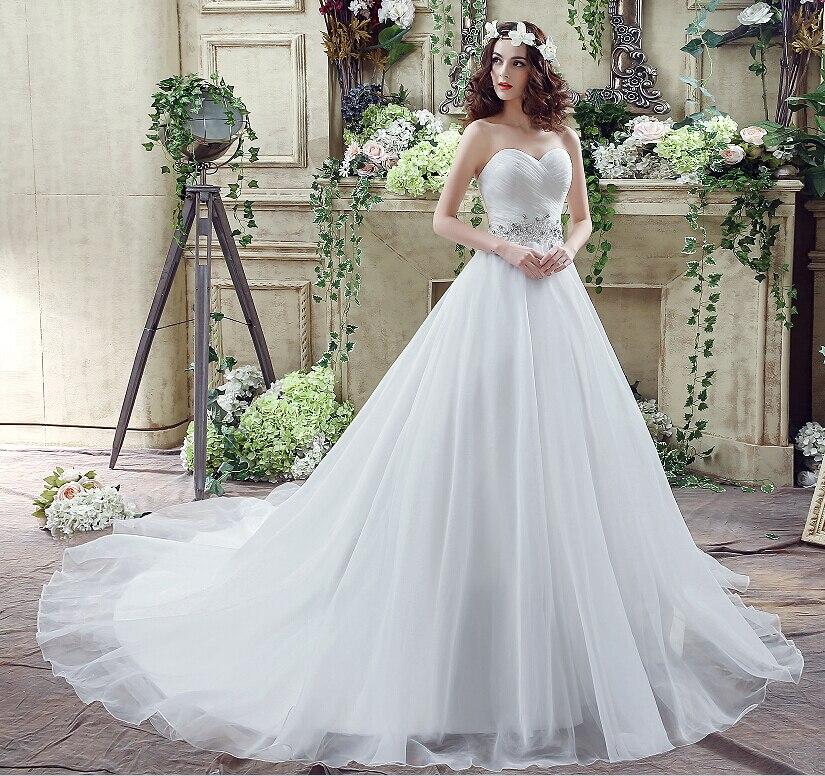 Romantisk Plus Storlek Bröllopsklänning Vit / Ivory Sweep Train - Bröllopsklänningar - Foto 5