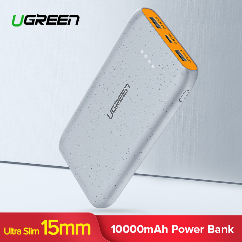 Ugreen 10000 mAh banco de potencia Dual USB Powerbank Slim Poverbank externo portátil cargador de batería para Xiaomi teléfono móvil