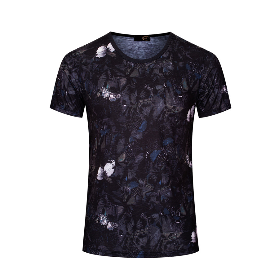 Western design style printed Harajuku Style dull black casual men's T shirts short sleeve male tops M-3XL