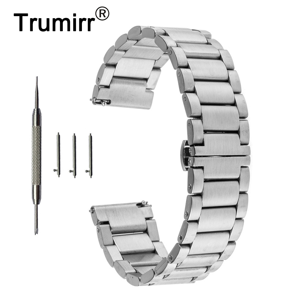 22mm Stainless Steel Butterfly Watch Band Strap Bracelet for Samsung Gear 2 R380 R381 R382 Moto 360 2 Gen 46mm Pebble Time Steel 20mm watchband stainless steel smart watch band strap bracelet for motorola moto 360 2 2nd gen 2015 42mm smartwatch black silver