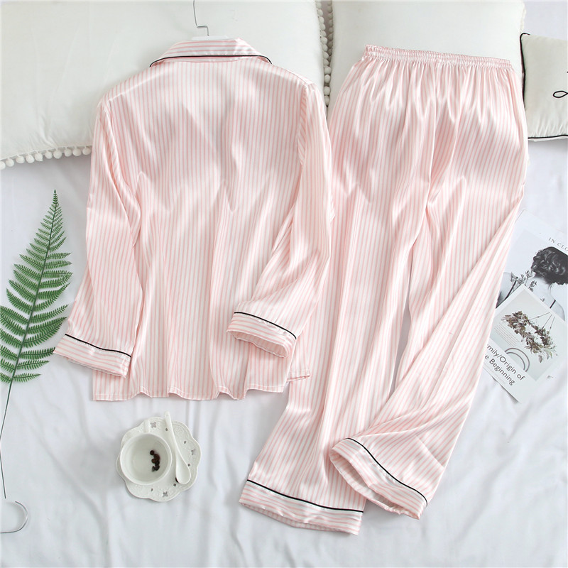 Spring Long Sleeve   Pajama     Set   Striped Sweet Girls Sleepwear Rayon Satin 2PCS Nightwear Casual Home Wear Pijamas Pyjamas M-XXL