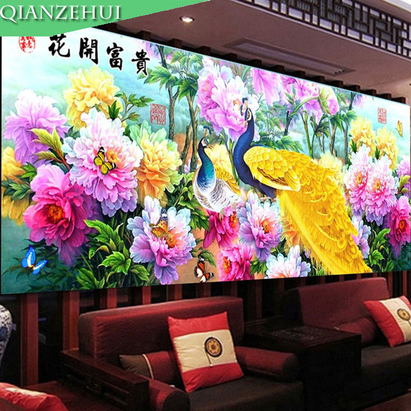 QIANZEHUI,Needlework,DIY Landscape Peacock And Peony Cross Stitch,Sets For Embroidery Kits Peony Full Embroidery Cross-Stitch