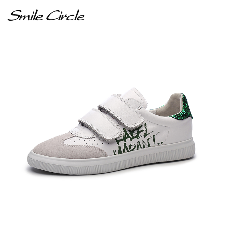 Smile Circle 2019 Spring Genuine Leather Sneakers Women Sequins Lace up Flat Platform Shoes Girl Casual