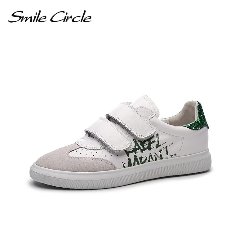 Sourire cercle 2019 printemps en cuir véritable baskets femmes paillettes à lacets plate-forme chaussures fille chaussures décontractées A9A8107-3