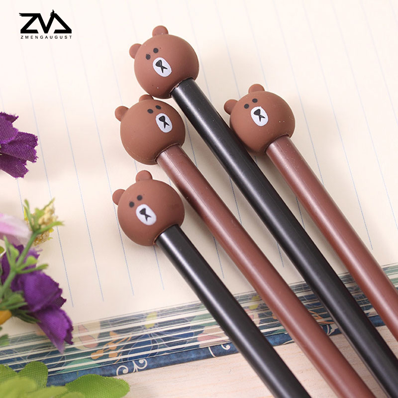 4pcs/lot little pure and fresh creative stationery bear pen kawaii black neutral learning office supplies opening gifts