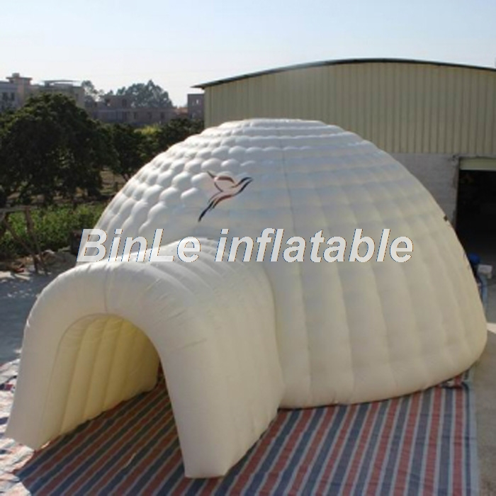 Custom 10m white large inflatable dome tent inflatable igloo tent with tunnel oxford temporary shelter for events цена