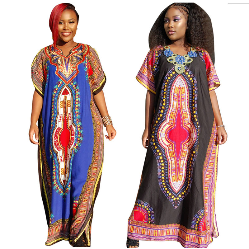 95d97ed837d African Dashiki Maxi Dresses Women Casual Loose Boho Print Summer Dress  Half Sleeve Sexy Big Bust (150cm) One Size Fit-in Dresses from Women s  Clothing on ...