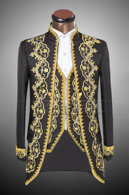 High Quality Gold Applique Men S Suits Jacket Pant Vest