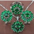 Calidad de Piedra Verde de Las Mujeres 925 Sistemas de La Joyería Collar Colgante Pendientes Anillos Envío Gratis TZ026