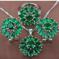 Quality Green  Stone Women's      925 Sterling Silver Jewelry Sets Necklace Pendant Earrings Rings Free Shipping TZ026