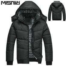Misniki Новая мода Капюшон Черный зимняя куртка Для мужчин теплое пальто парка Для мужчин