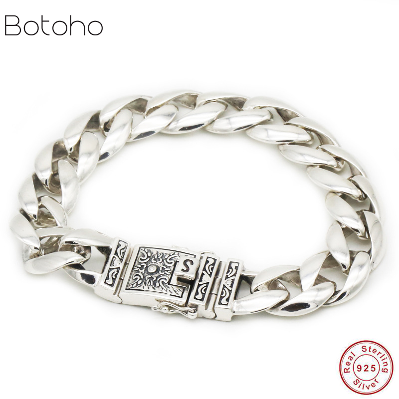 2019 New 925 sterling silver men's bracelet new European and American punk money pattern bracelet retro classic men's bracelet