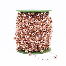 5m/lot Light Electroplated Rose Gold Imitation Pearl Round Beads Chain For Wedding Decoration Party Accesories