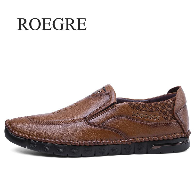 ROEGRE Brand Mens Casual Shoes 2018 New Spring summer High Quality Genuine Leather Comfortable Male Oxford Flats Shoes