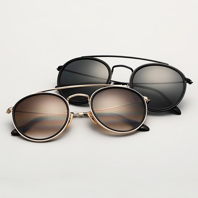 b4a2e94cf Round Double Bridge sunglasses woman 51mm mirror sunglass brown gradient  and black glass lens glasses sol gafas occhiali UV400
