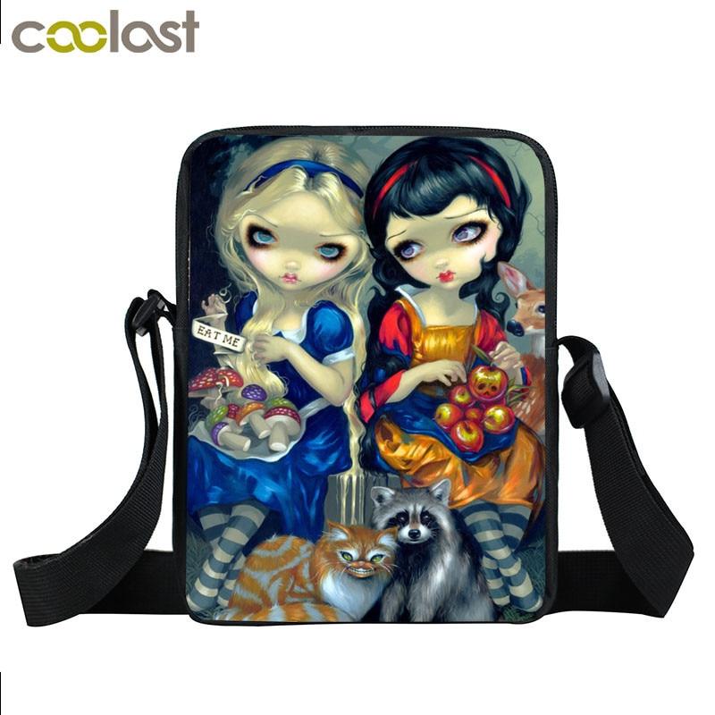 Cartoon Gothic Girl Mini Messenger Bag Women Handbags