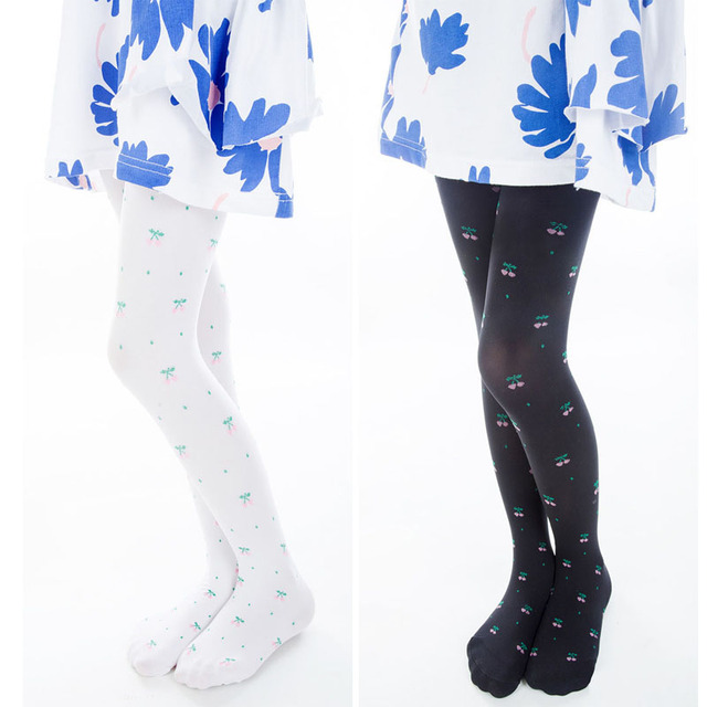 Summer Baby Girls Stockings Tights Cute Cherry Pattern 60d Velvet Children Girls Kids Tights Pantyhose Silk