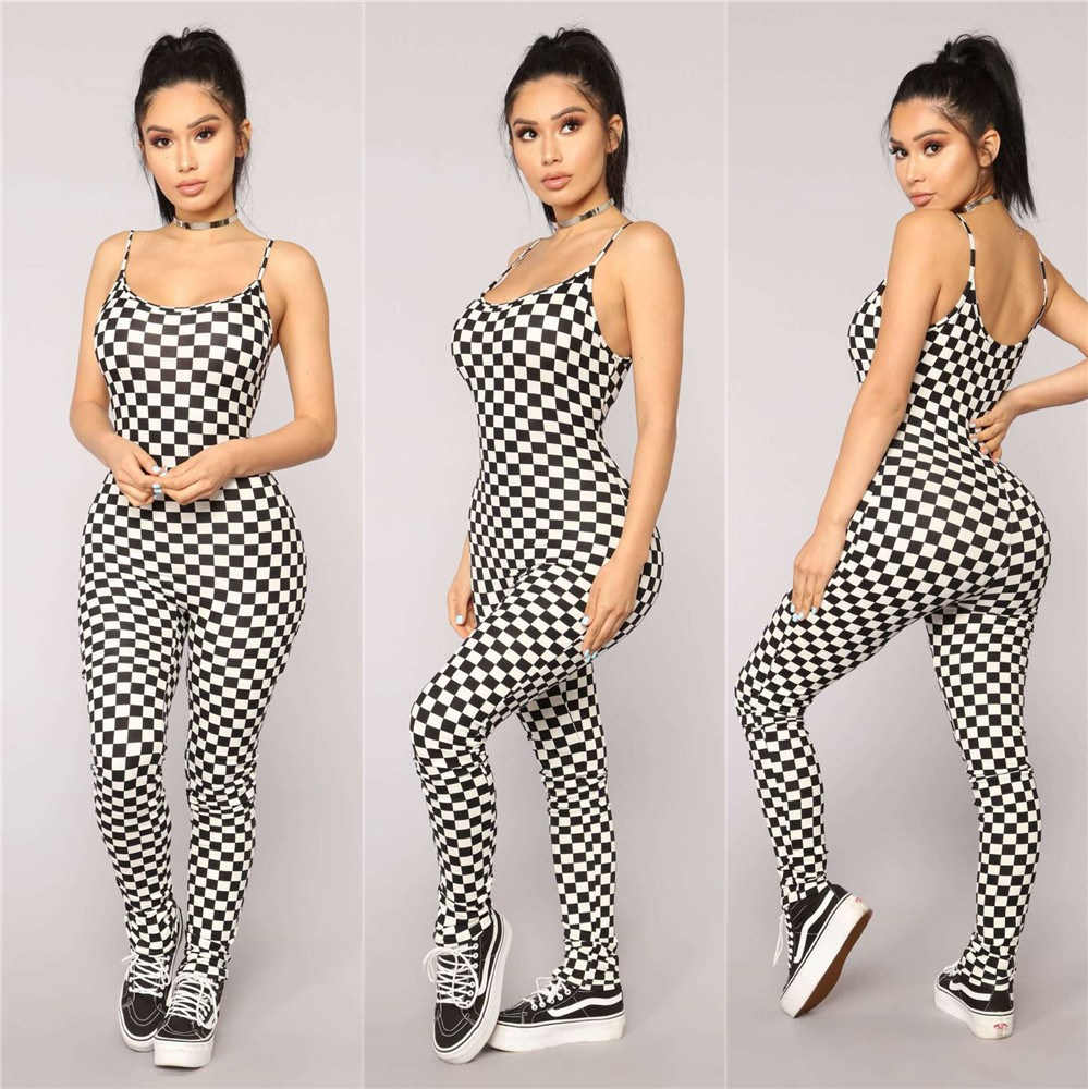 Women Spaghetti Strap Checkboard Print Sexy Jumpsuits Women Black Backless Plaid Sexy Rompers Summer Bodycon Jumpsuit