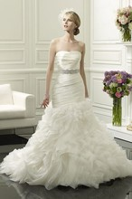 Free Shipping 2014 Timeless Stunning Mermaid Strapless Beaded Waist Sweep Train Exotic Wedding Dresses WX11629