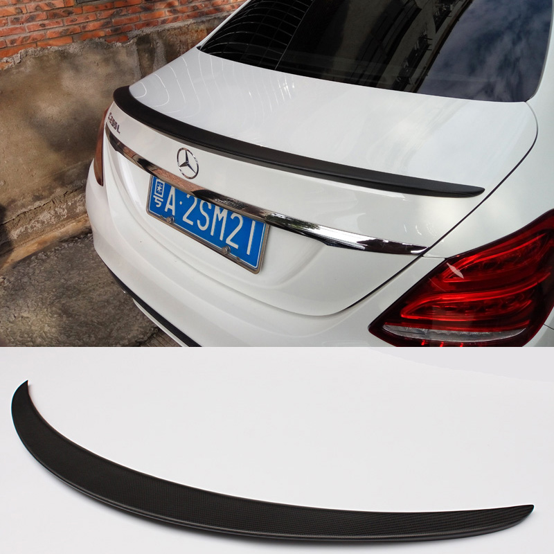 W205 AMG Style Matt Carbon Fiber Car Rear Trunk lip Spoiler Wing For Mercedes Benz W205 4Door 2015UP amg style w205 carbon fiber rear trunk spoiler for mercedes benz w205 c180 c200 c220 c250 c300 c350 c400 c63 amg 2015 2017