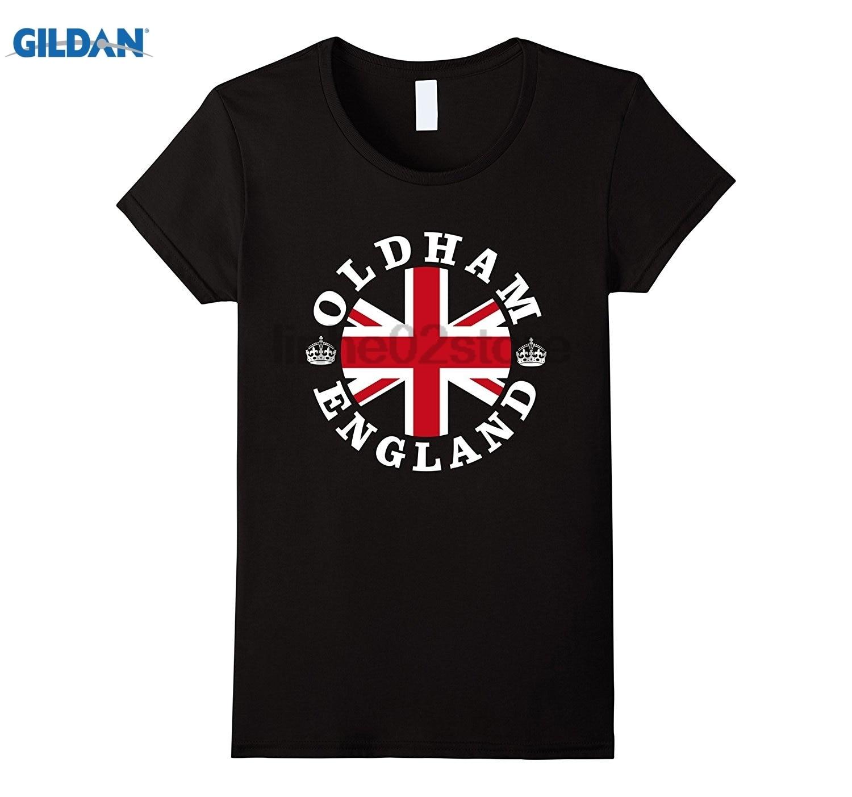 GILDAN Oldham Retro Vintage British Union Jack T-Shirt Womens T-shirt