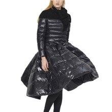 Creative dress down jacket female long section 2016 Winter warm coat parke Women Down Coat Jacket Medium Length Woman Down Parka